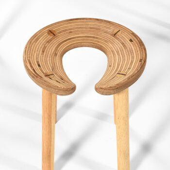 Antti Nurmesniemi 'Sauna' stools in birch at Studio Schalling