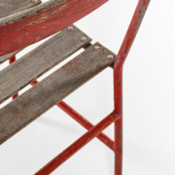 Gunnar Asplund chairs in red lacquered metal at Studio Schalling